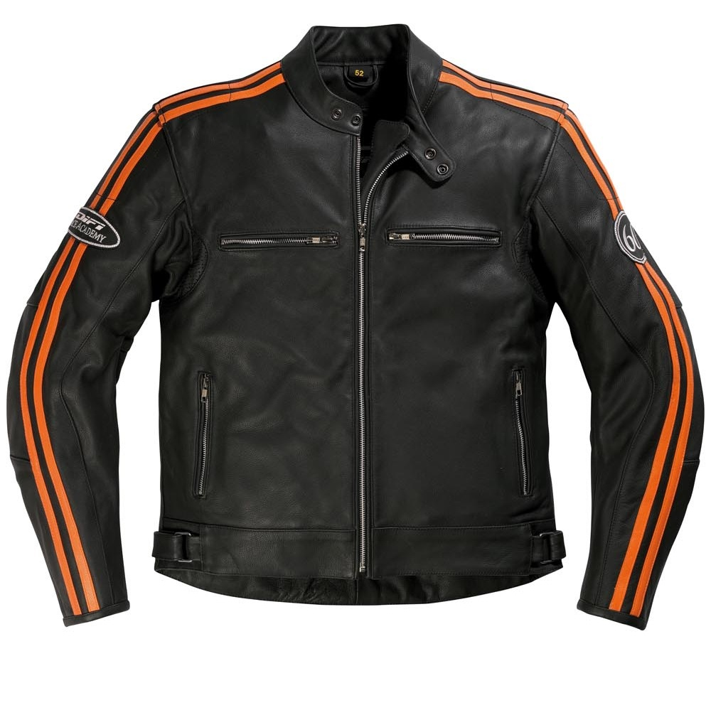 Blouson cuir Difi Saint Louis noir/orange